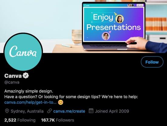 canva twitter profile business bio example