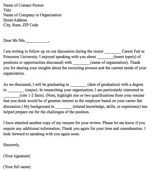 Cover letter template for follow-up on career day