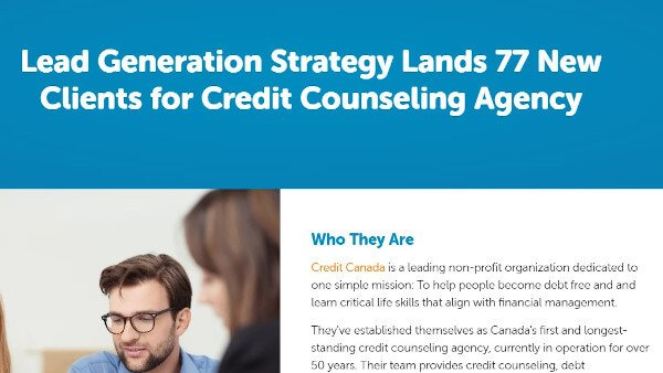 "case study example from bluleadz that reads ""lead generation strategy lands 77 new clients for credit counseling agency"""