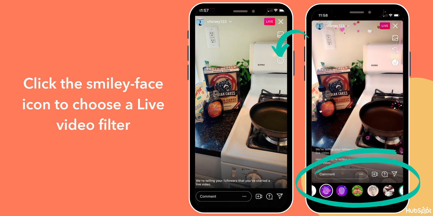 Change the filter in Instagram Live Videos with the smiley face icon