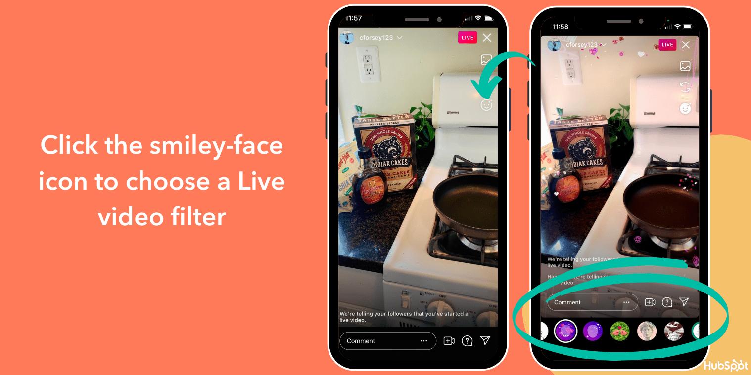 Ändern Sie den Filter in Instagram Live-Videos mit dem Smiley-Symbol