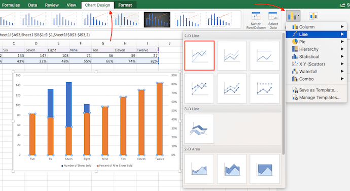 Instructions to change chart type in Excel and add orange bars to secondary Y axis
