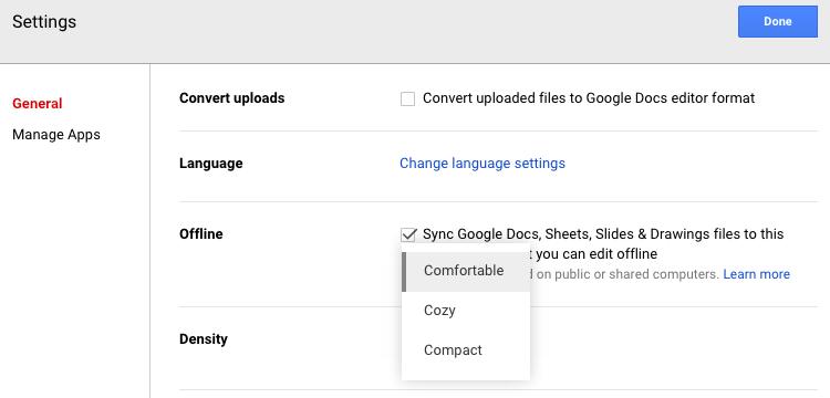 change-density-google-drive