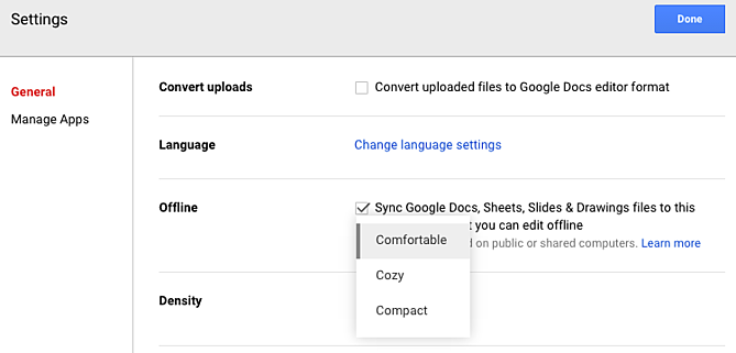 change-density-google-drive