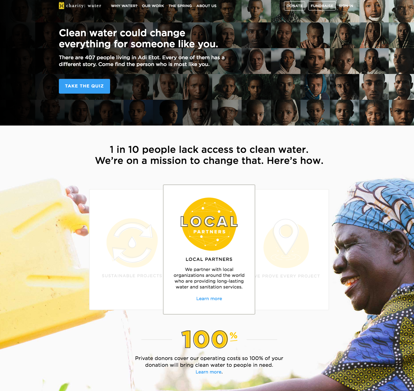 charity: water homepage web design