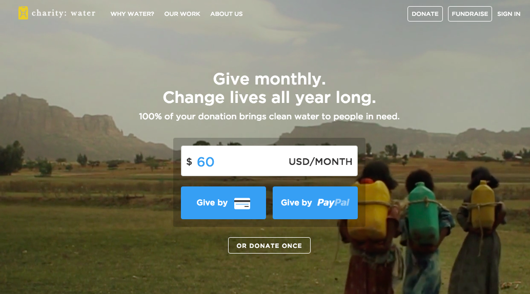 charity: water donation call to action button