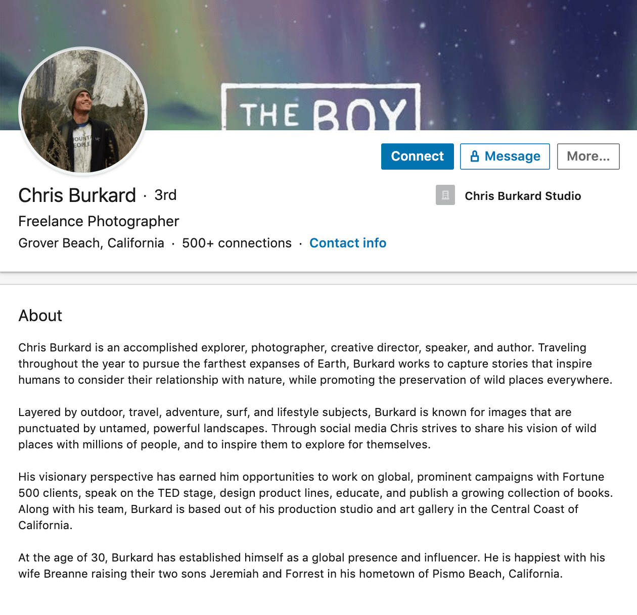 Chris Burkard's professional bio on LinkedIn