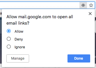 Blue Allow button for making Gmail default email client in Chrome browser