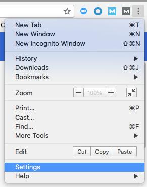 Settings option in dropdown menu of Google's Chrome browser
