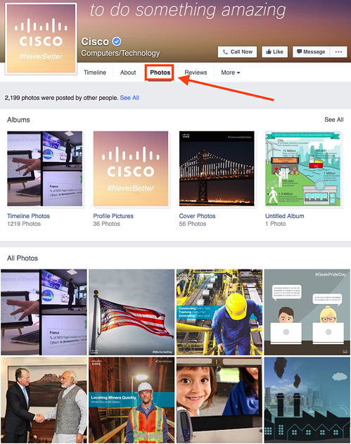 Cisco Facebook photos tab.