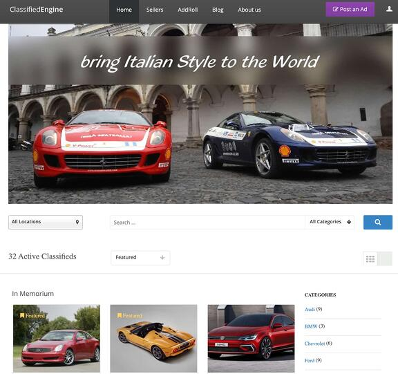 classifiedengine homepage with featured listings demo