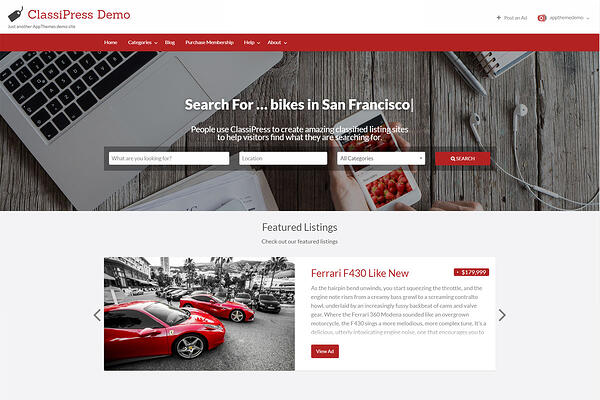 classipress demo homepage with search bar and featured listings footer module