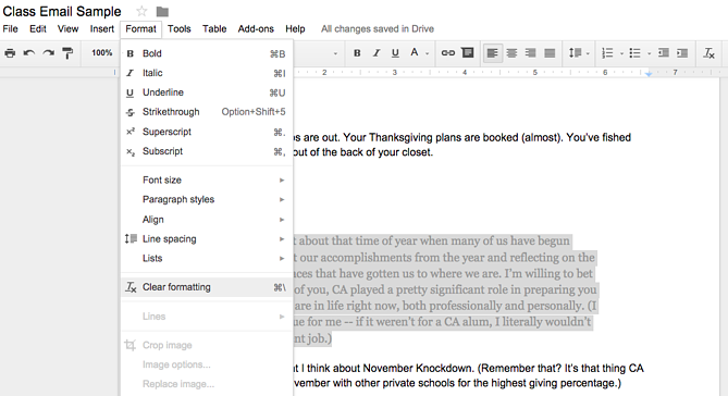How to clear formatting in a Google Doc