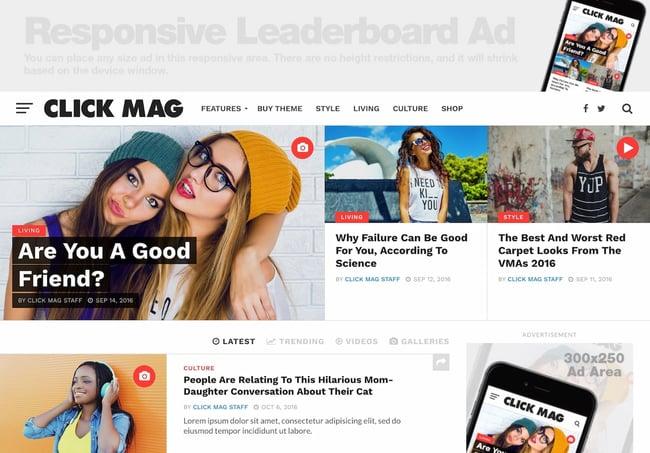 Best viral WordPress themes: Click Mag