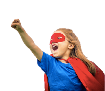 Photo of girl with cape after picture's background was made transparent