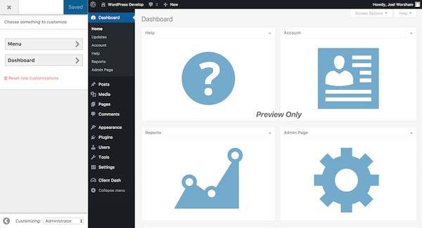 Client Dash WordPress admin plugin with drag-and-drop interface
