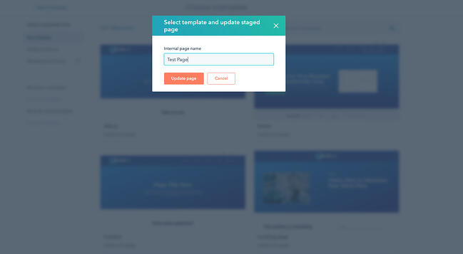 Selecting a new template and confirmation pop-up in CMS Hub