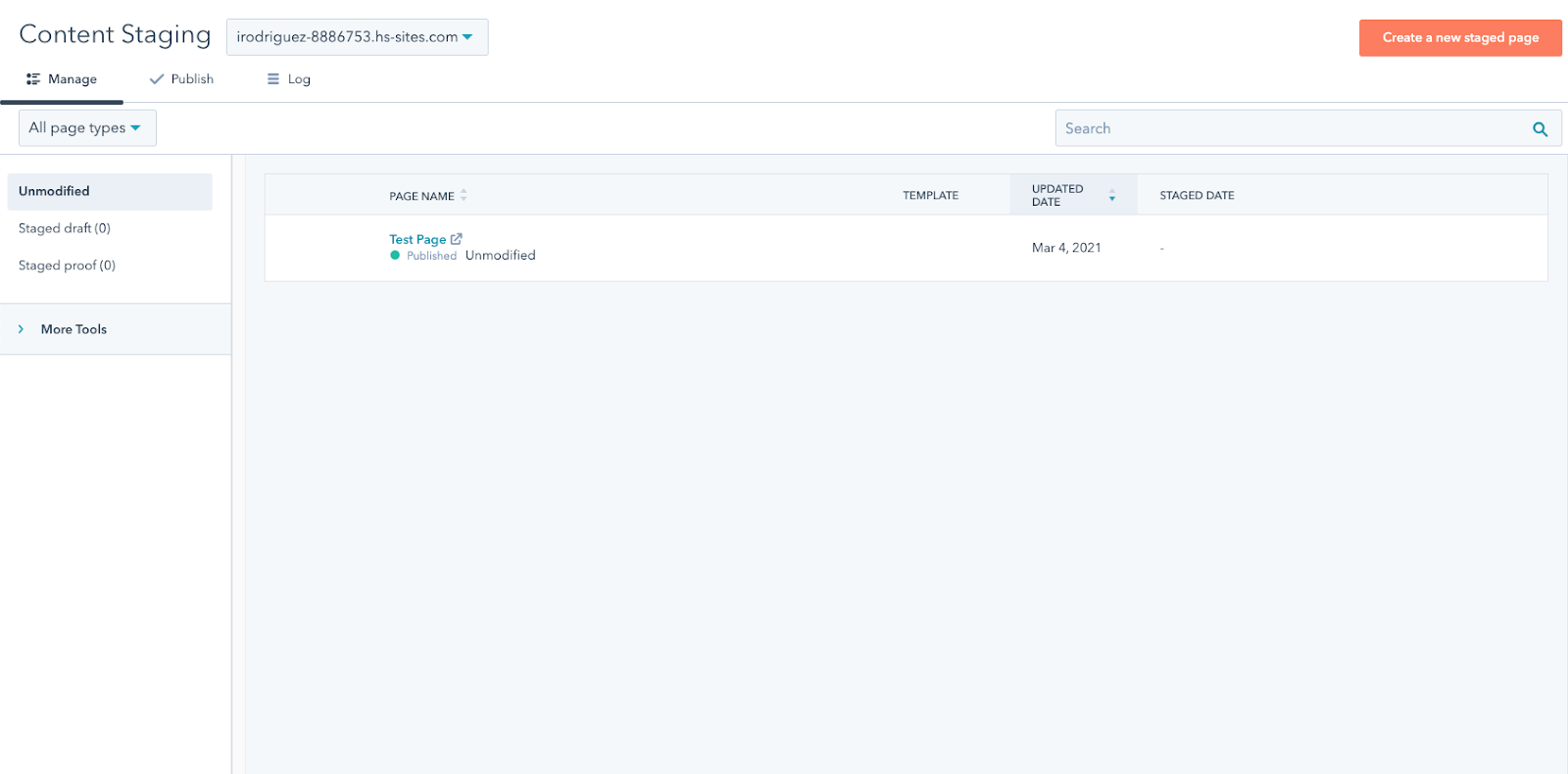 Content Staging dashboard in CMS Hub