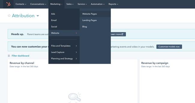 CMS Hub navigation menu leading toward the Website Pages option