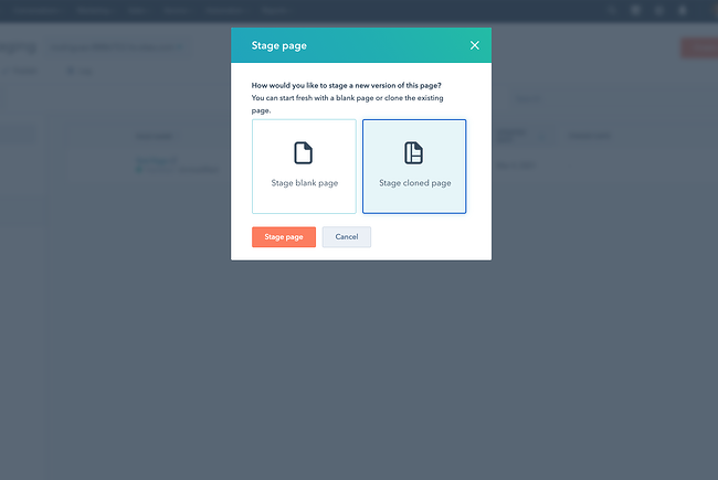 Stage cloned page pop-up in CMS Hub