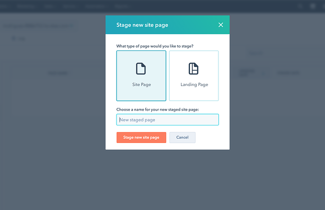 Create new staged page dialog box in CMS Hub
