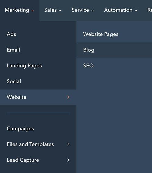 Blog and Website Pages buttons on the HubSpot CMS