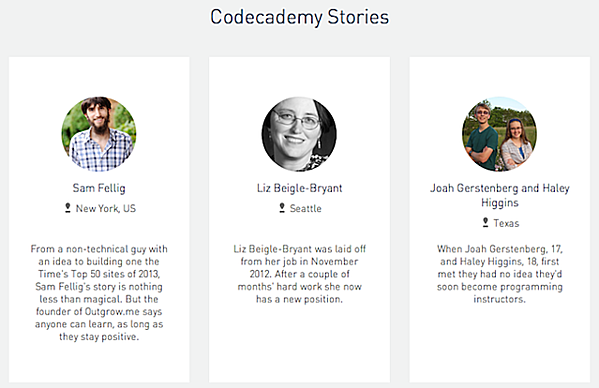 social proof codecademy landing page