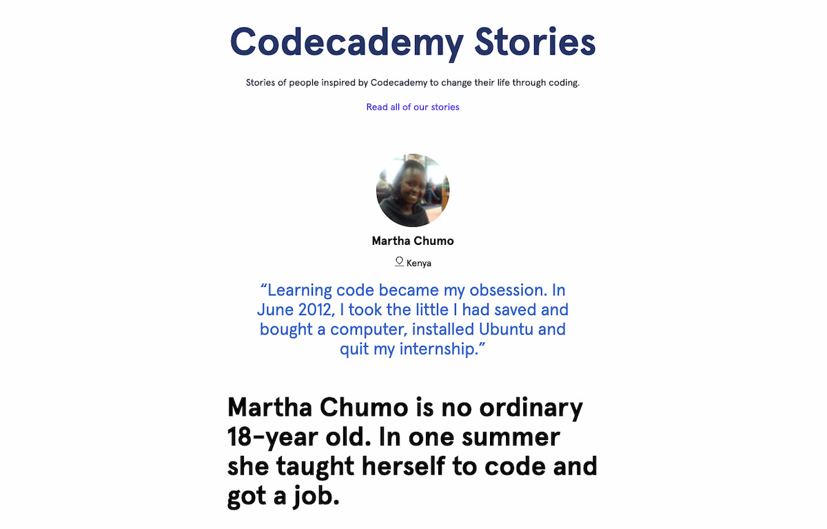 Testimonial example from Codeacademy Stories