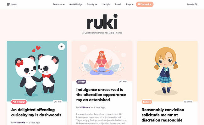 Colorful WordPress themes: Ruki