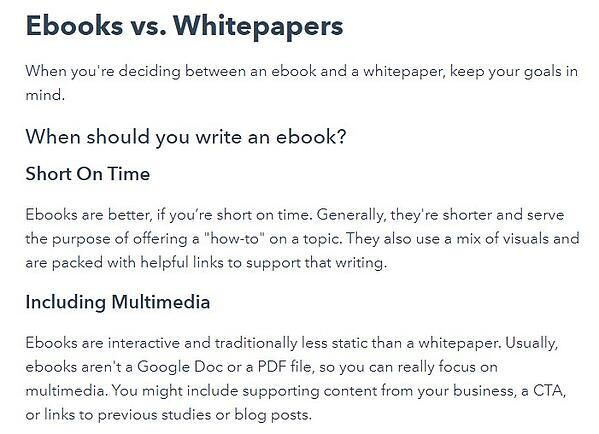 example of a comparison blog post that shows the difference between ebooks vs whitepapers and when each would be appropriate to use
