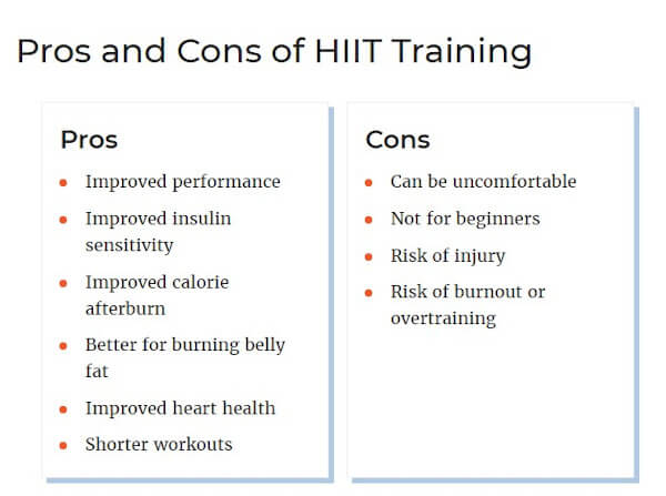 "comparison example from verywell fit that reads ""pros and cons of hiit training"""