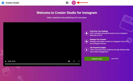 red arrow pointing to the instagram login icon on instagram creator studio homepage