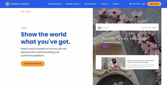 Constant Contact Website Builder home page