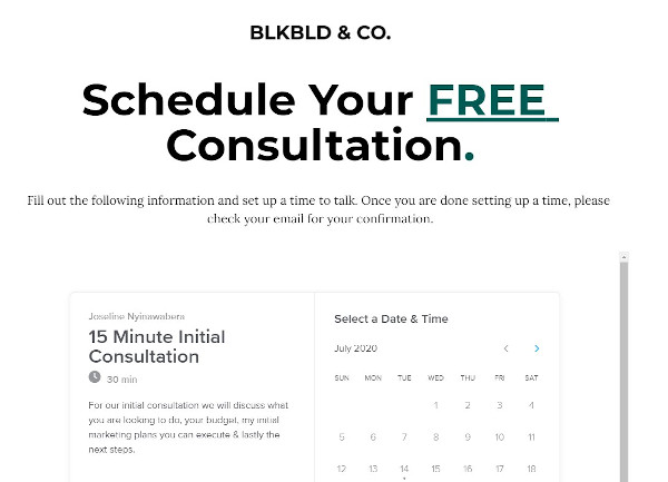 consultation offer from blkbld & co that reads 'for our initial consultation, we will discuss what you are looking to do, your budget, my marketing plans you can execute & lastly the next steps""