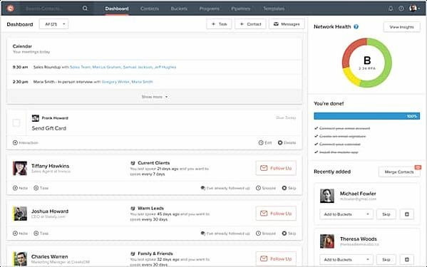 Contactually real estate CRM in dashboard view