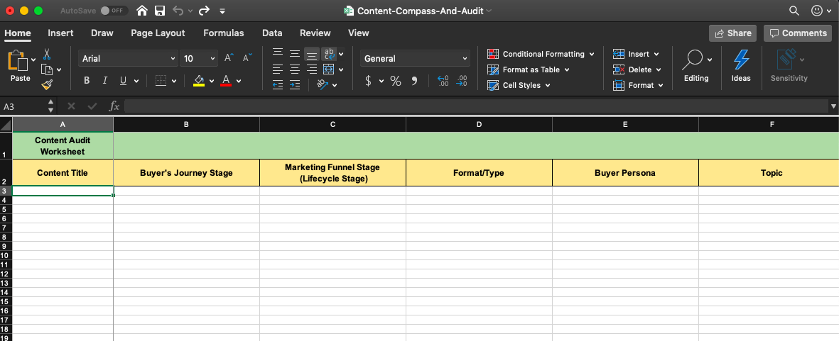 content audit template