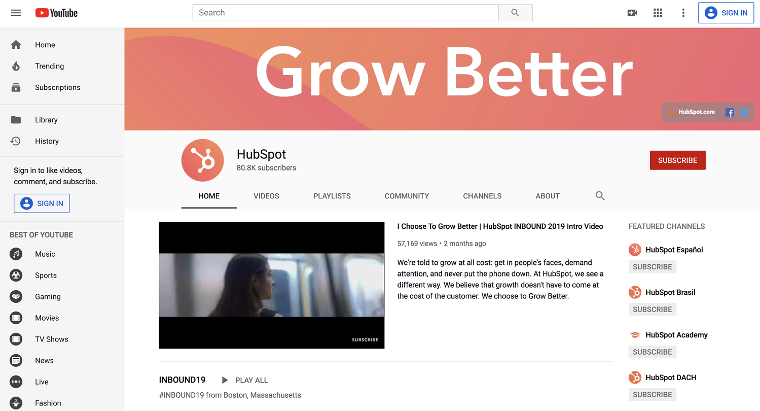 content distribution example video youtube hubspot