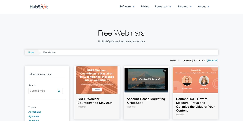 content distribution example webinar hubspot