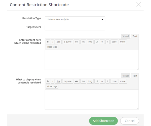 content restrictions for ARMember plugin review