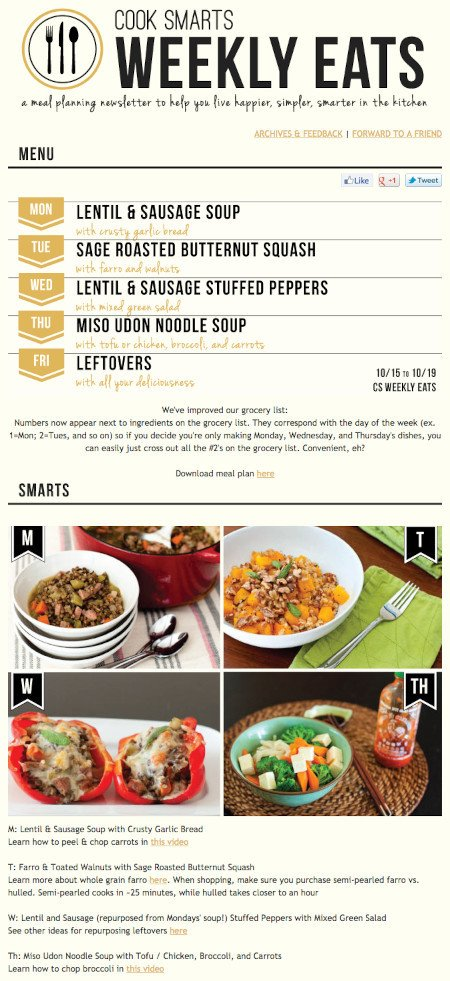 """Email Marketing Campaign Example: Cook Smarts - """"Weekly Eats"""""""
