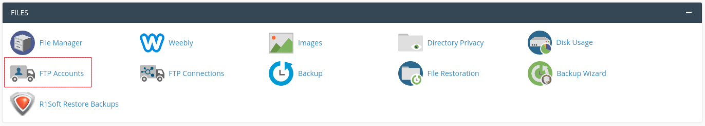 FTP Accounts icon outlined in red in cPanel