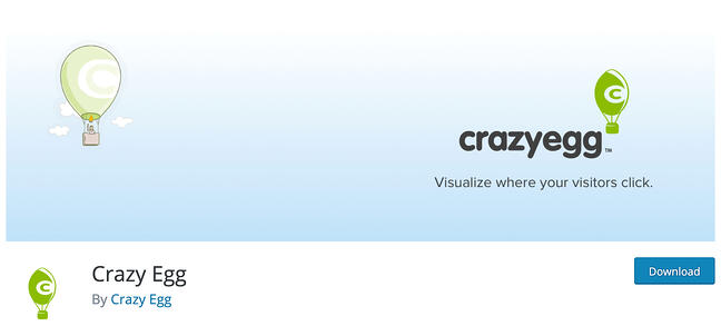 product page for the wordpress analytics plugin crazy egg