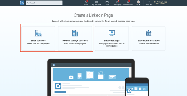 create a linkedin company page choose a page type