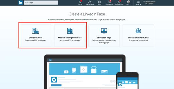 Create a Linkedin company page Choose a page type