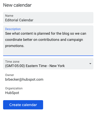 Adding Details in Google Calendar to Create New Calendar