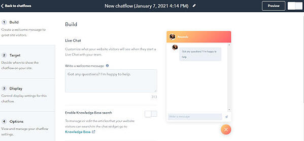 creating chatflow using hubspot