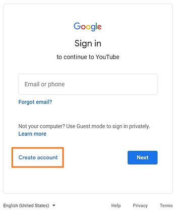 "youtube sign-in page with ""create account"" prompt"