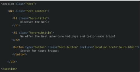 how to create an HTML structure for hero images