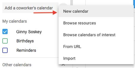 Dropdown menu to create a new calendar in Google Calendar