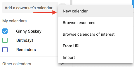Dropdown menu to create a new calendar in Google Calendar